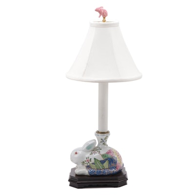 Hand-Painted Tobacco Leaf Porcelain Bunny Table Lamp, Late 20th C.