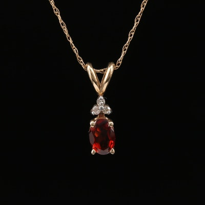 10K Garnet and Diamond Pendant Necklace