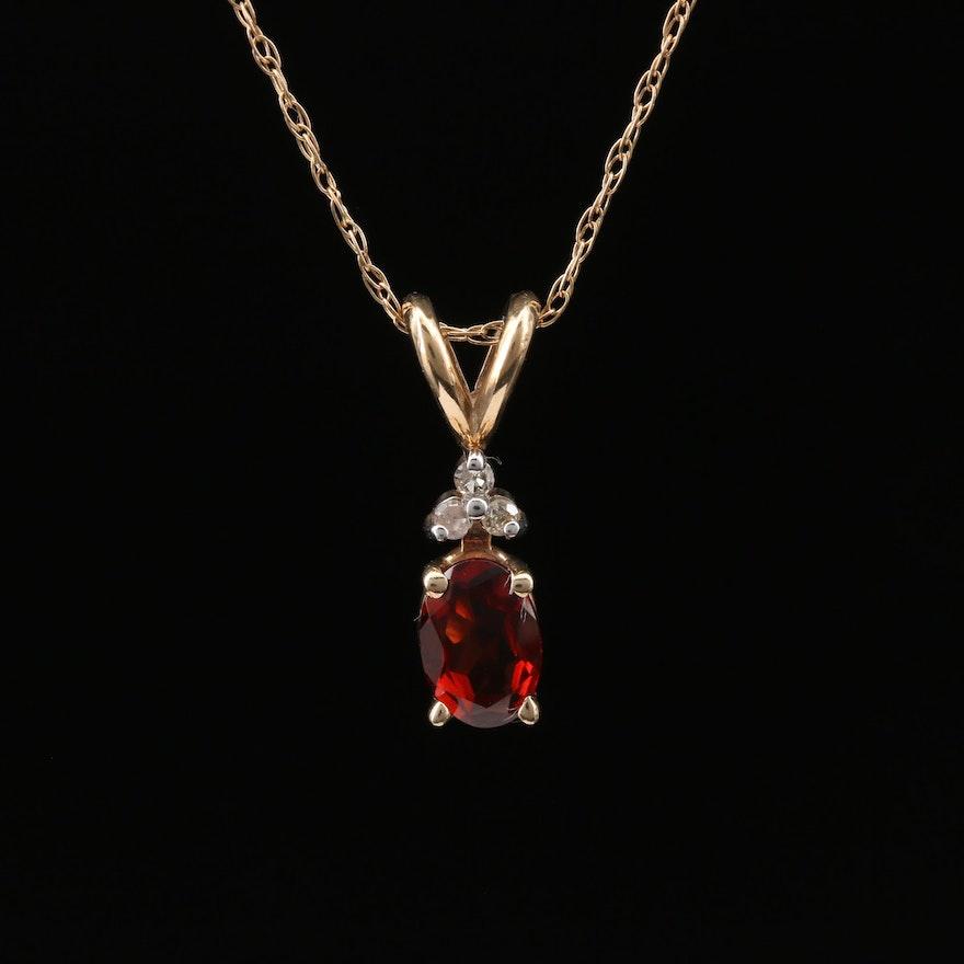 10K Garnet and Diamond Pendant Necklace