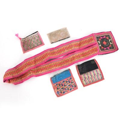 Southeast Asian Hmong Paj Ntaub Embroidered Collar Panels and Pocket