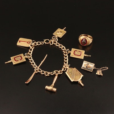 Circa 1940 10K School Jewelry with Ruby and Enamel Accents