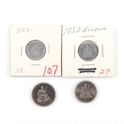 Assortment of Liberty Seated Coins, Including 20-Cent Coin