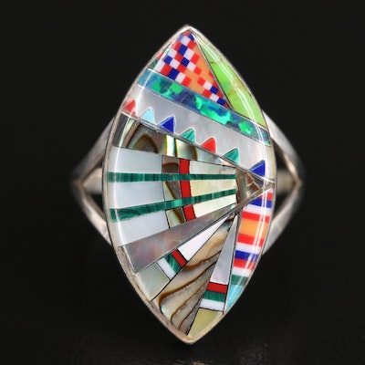 Sterling Silver Mother of Pearl, Abalone and Turquoise Ring