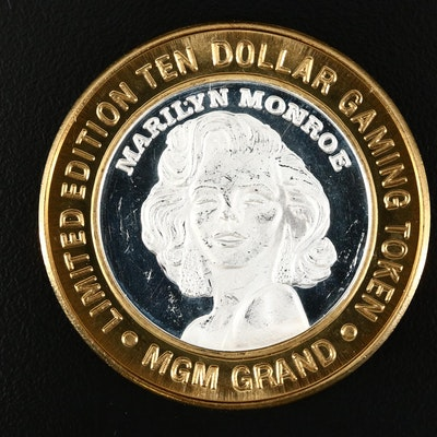 1997 MGM Grand Casino Limited Edition $10 Marilyn Monroe Silver Striker