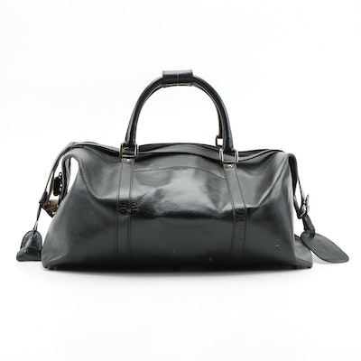 Gucci Pebbled Leather Duffel Bag in Black with Attached Luggage Tag