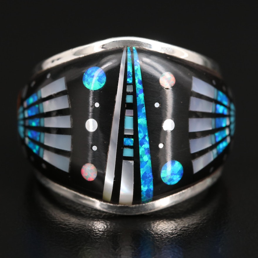 Sterling Silver Resin, Mother of Pearl and Faux Opal Ring