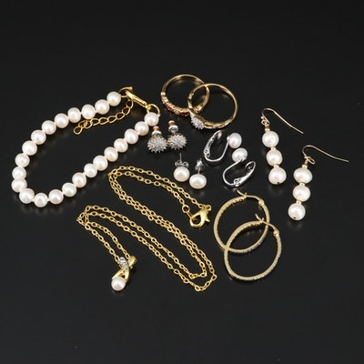 Pearl Jewelry Assortment Including Diamonds and Corundum