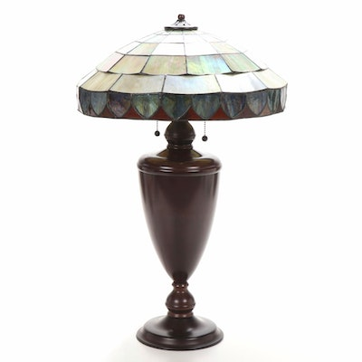 Stained and Slag Glass Shade Metal Table Lamp, 21st Century