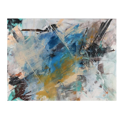 Farshad Lanjani Abstract Expressionist Style Acrylic Painting