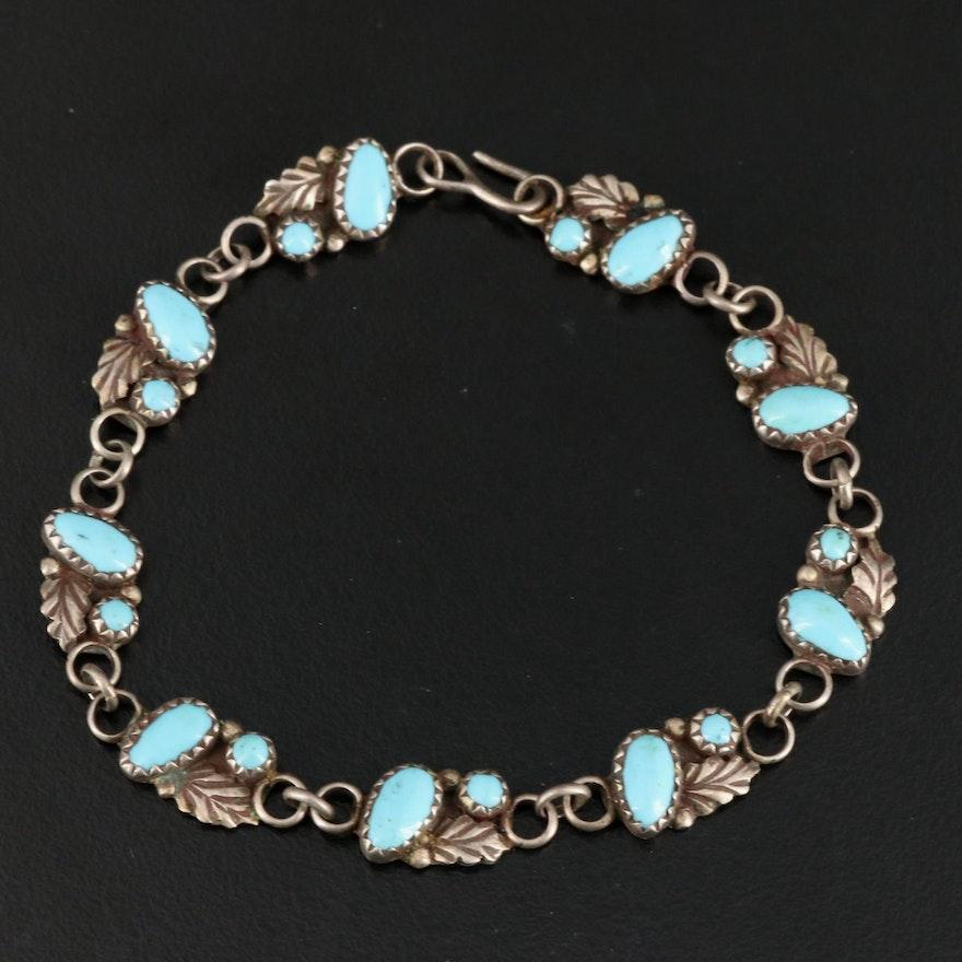 Artisan Signed Sterling Silver Turquoise Link Bracelet