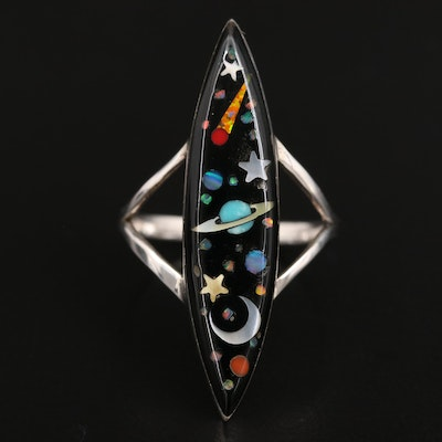 Sterling Silver Space Motif Inlay Ring with Mother of Pearl