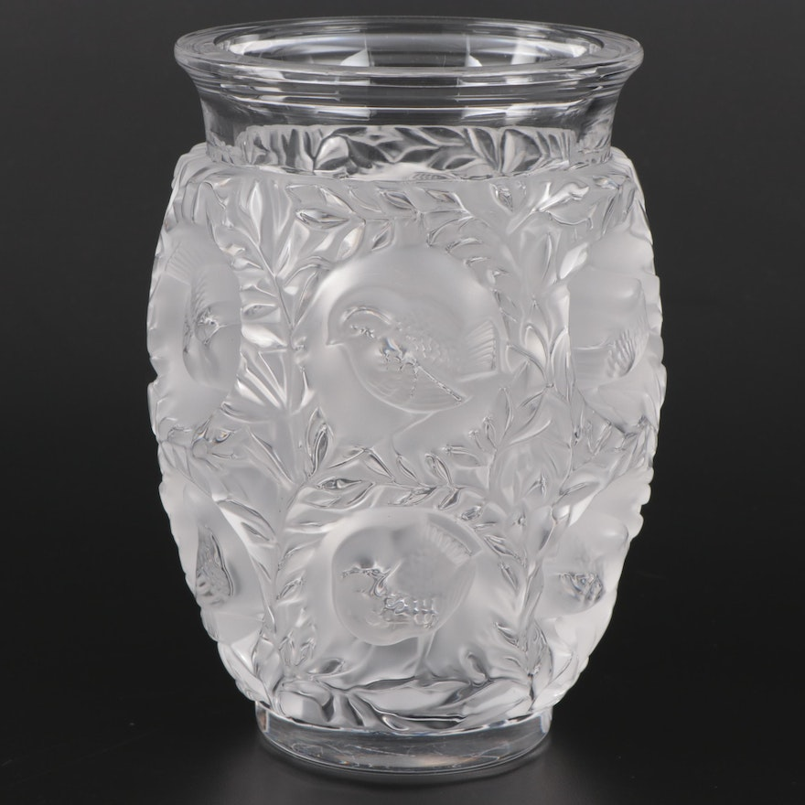 """Lalique """"Bagatelle"""" Frosted and Clear Crystal Vase, Mid-20th Century"""