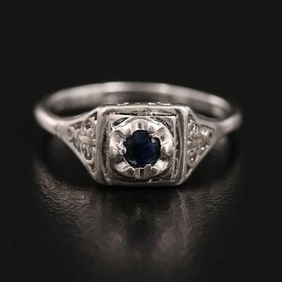 Joseph Esposito Sterling Silver Sapphire Ring