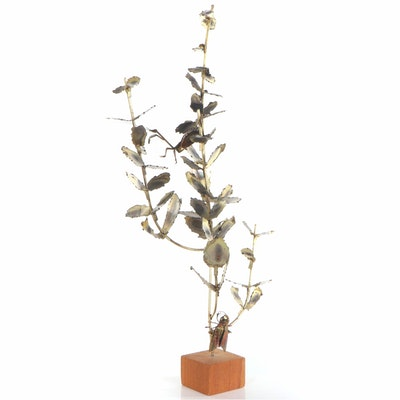 Brutalist Style Brass Sculpture of Insects on Branch, Late 20th Century