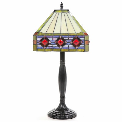 Stained and Slag Glass Shade with Metal Body Table Lamp