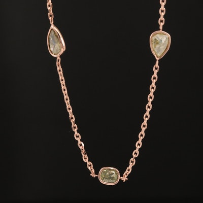 14K Rose Gold 2.99 CTW Diamond Station Necklace