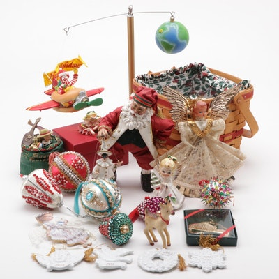 Department 56 Krinkles Frog Jeweled Box and Other Christmas Decorations