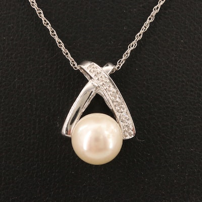 10K Diamond and Pearl Slide Pendant Necklace