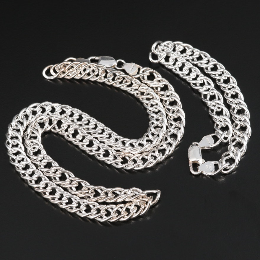 Sterling Silver Double Curb Link Necklace and Bracelet