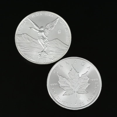 Mexican and Canadian 1-Oz. Silver Bullion Coins