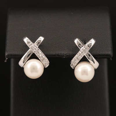 10K Pearl and Diamond Crossover Stud Earrings