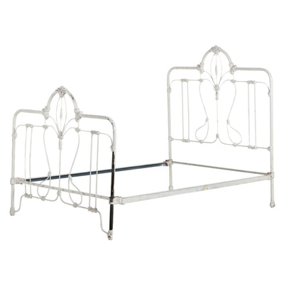 Late Victorian White-Painted Cast Iron Full-Size Bed Frame, Early 20th Century