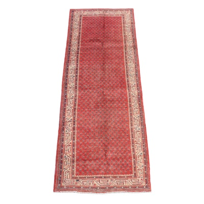 3'6 x 10'4 Hand-Knotted Persian Mir Serabend Wool Long Rug