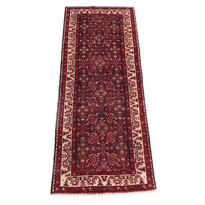 3'8 x 10'0 Hand-Knotted Persian Hamadan Wool Long Rug