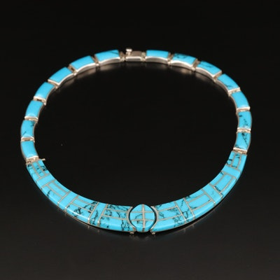Graduated Sterling Silver Turquoise Inlay Collar