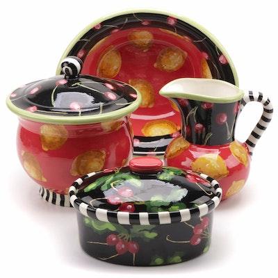 "Droll Designs Hand-Painted ""Cherry/Lemon"" Ceramic Tableware, Contemporary"