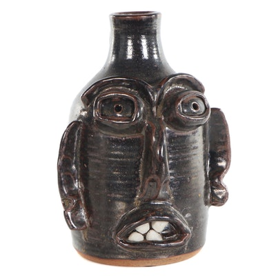 Folk Art Ceramic Face Jug, 1989