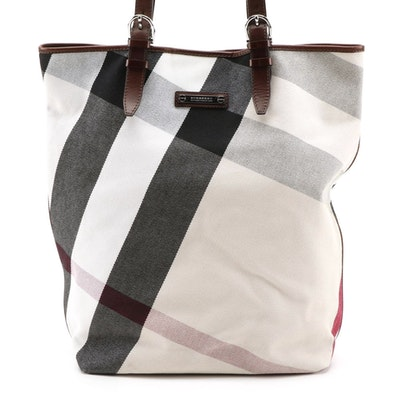 """Burberry """"Nova Check"""" Canvas and Brown Leather Tote"""