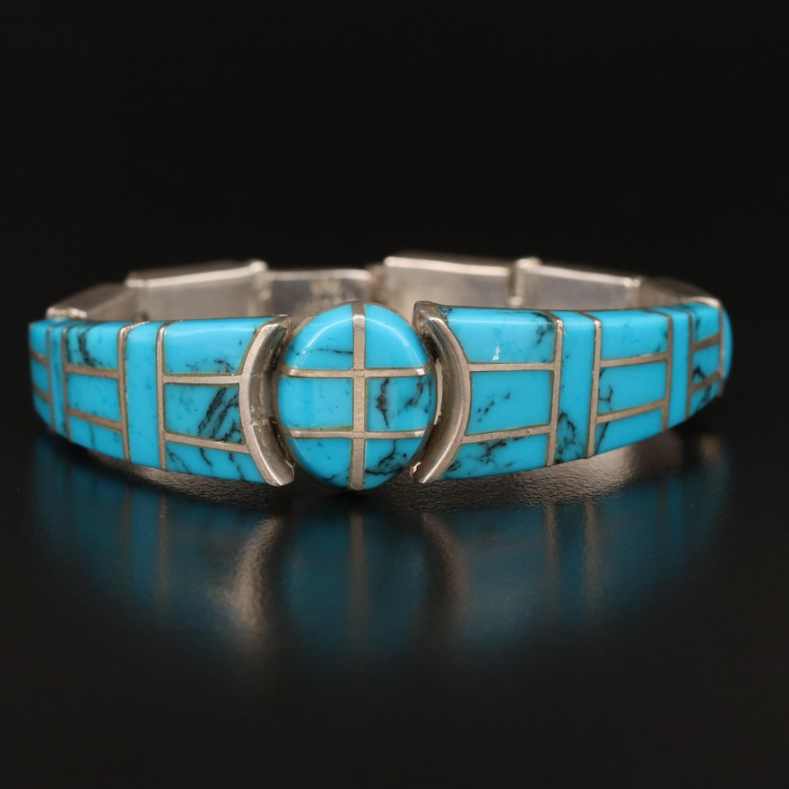Mexican Sterling Silver Turquoise Inlay Bracelet