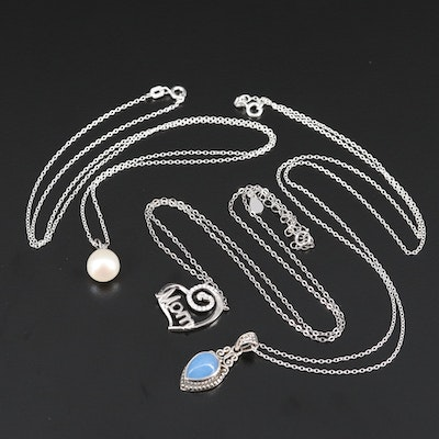 Assortment of Necklaces with Pearl, Chalcedony and Cubic Zirconia