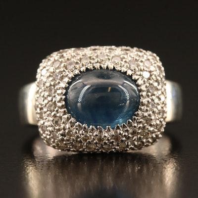 14K Sapphire and 1.17 CTW Pavé Diamond Ring