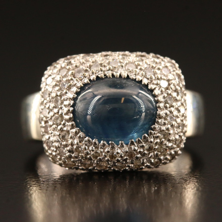 14K Sapphire and 1.17 CTW Pavé Diamond Ring