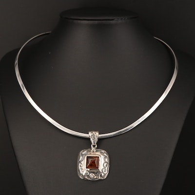 Sterling Silver Amber Collar