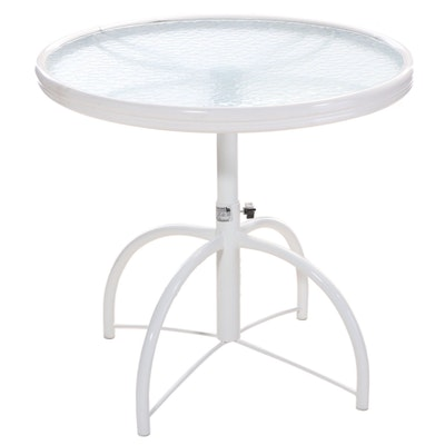 Homecrest Industries Tubular Metal and Glass Top Adjustable-Height Side Table