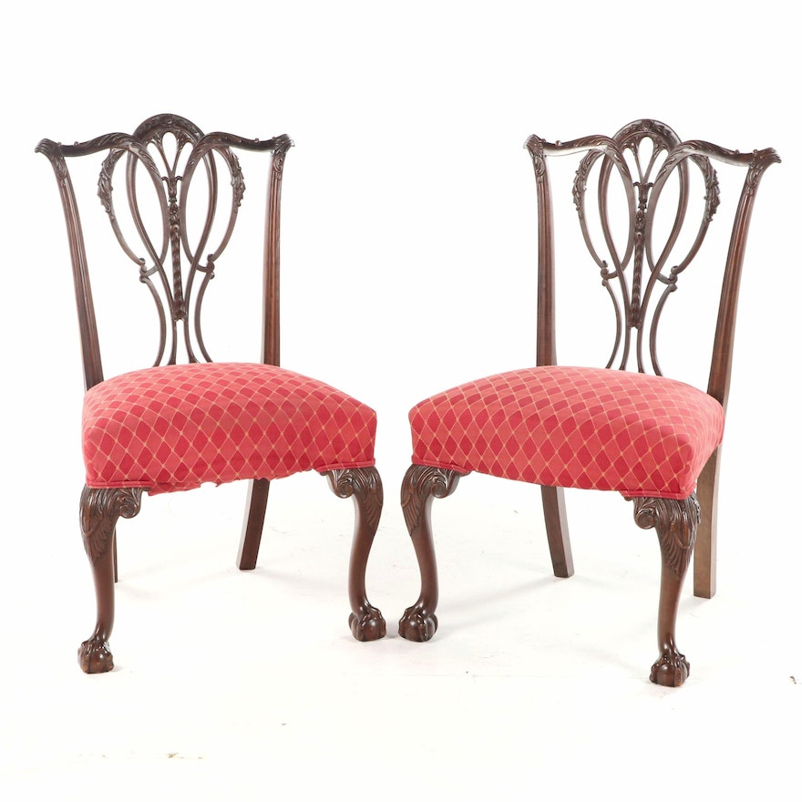 Pair of Chippendale Style Mahogany Side Chairs, Late 19th/Early 20th Century