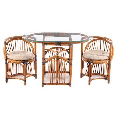 Barrel Back Rattan Glass Top Dinette Set, Late 20th Century