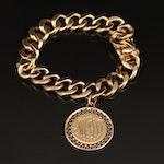 14K Curb Link Bracelet with Monogrammed Charm