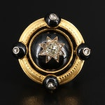 Early Victorian 14K Diamond and Black Onyx Brooch