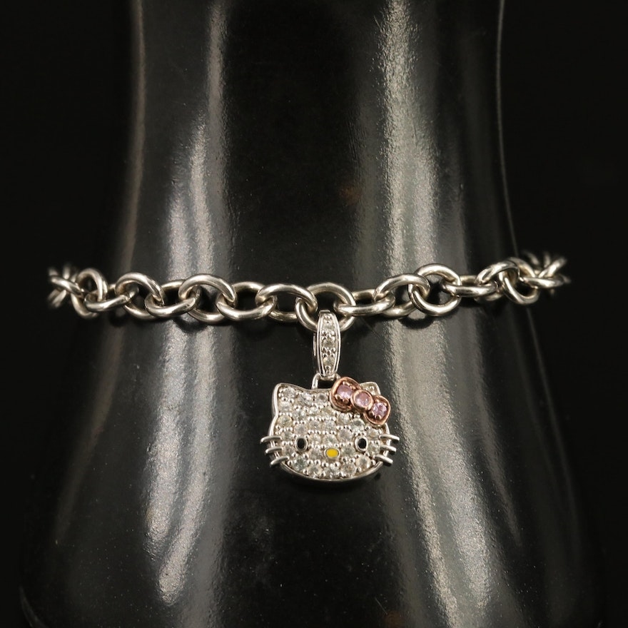 Hello Kitty Sterling Sapphire and Enamel Bracelet