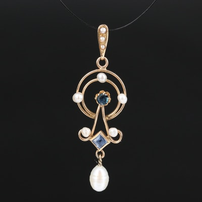 Art Nouveau 14K Sapphire, Seed Pearl and Pearl Pendant