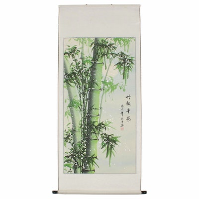 Chinese Silk Scroll Gouache Painting of Bamboo