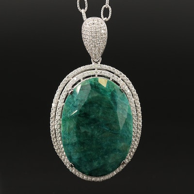 Sterling Beryl and Sapphire Double Halo Pendant Necklace