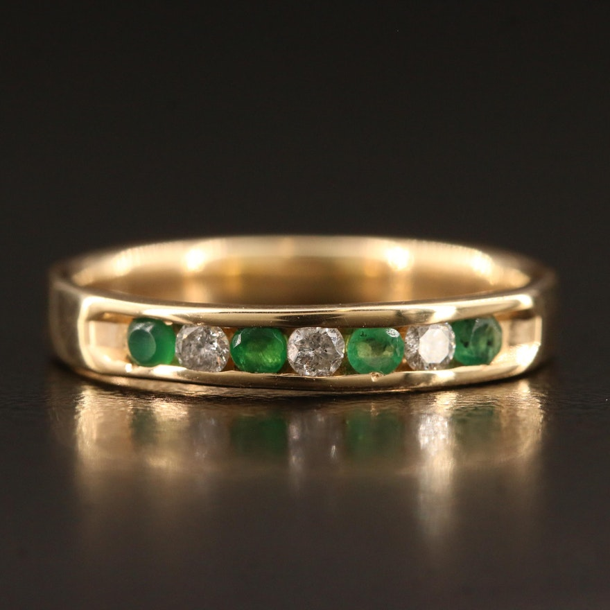 14K Channel Set Diamond and Emerald Band