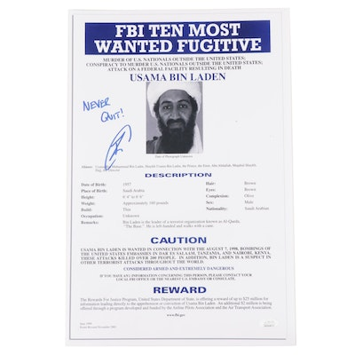 "Robert O'Neill Signed Usama Bin Laden ""Never Quit"" FBI Wanted Poster, JSA COA"