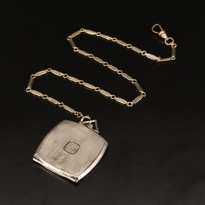 Antique Sterling Silver Multi-Photo Locket with Platinum and 14K Watch Fob Chain
