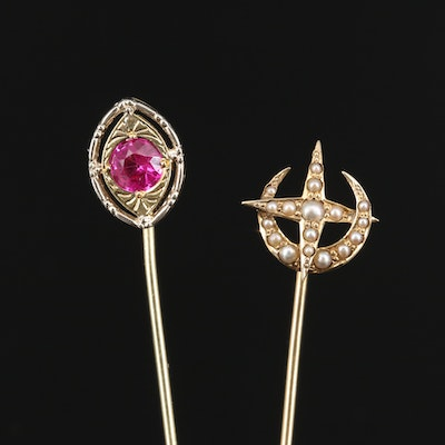Antique 14K Ruby and Seed Pearl Crescent Moon and Star Stick Pins